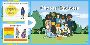 Kindness Day PowerPoint - kind, kindness day, kindness week, helping, polite, nice, choices
