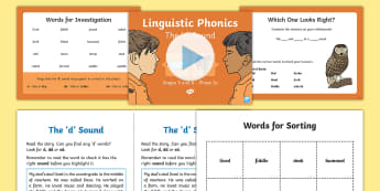Northern Ireland Linguistic Phonics Stage 5 and 6 Phase 3a, 'd' Sound PowerPoint  - NI, sound search, word sort, investigation