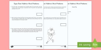 Super Bowl Addition Word Problems Activity Sheet - Super Bowl 2017, Football, American Football, Word Problems, Math, Addition, KS1, 1st grade, 2nd gra