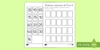 Ficha de actividad: Ordenar números - 5 en 5 - múltiplos de 5, 5 en 5, números hasta cien, números hasta 100, ordenar números, ficha, actividad