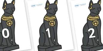 Numbers 0-50 on Egyptian Cats - 0-50, foundation stage numeracy, Number recognition, Number flashcards, counting, number frieze, Display numbers, number posters
