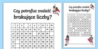 Karta Brakujące liczby od 1 do 100 Superbohater Polish-Polish