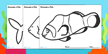 Under the Sea Decorate a Fish Template - under the sea, under the sea fish template, fish template, fish outline, plain fish, decorate a fish, colour fish