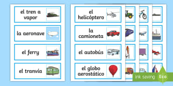 Transport Word Cards Spanish  - Spanish, KS2,transport, word, cards, vocabulary