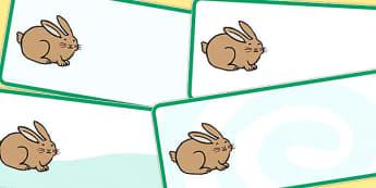 Editable Rabbit Drawer Peg Name Labels - animals, signs, labels