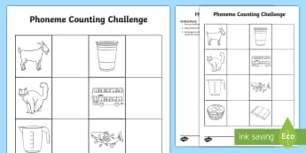 Phoneme Counting Challenge Activity - Phase 1 Aspect 7: Oral Blending and Segmenting, letters and sounds, phonics,segment, phase one, lett