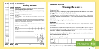 Monkey Business Activity Sheet - Amazing Fact Of The Day, activity sheets, powerpoint, starter, morning activity, December, monkey, f