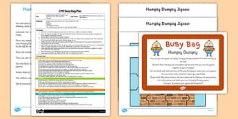Humpty Dumpty EYFS Busy Bag Plan and Resource Pack - Nursery rhymes, jigsaw, EYFS
