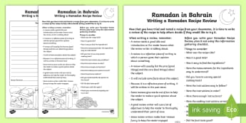 Ramadan Recipe Review Writing Template - Bahrain, Ramadan, Review, Critical Writing,