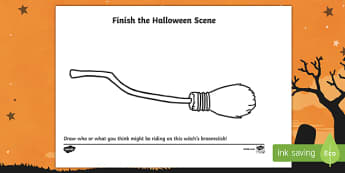 Witch's Broomstick Drawing Activity Sheet