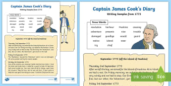 Year 1 Captain Cook's Diary Writing Sample - KS1, year 1, diary writing sample, Captain Cook, Australia, adventurer, explorer, sailor, extract, w
