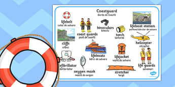 Coastguard Word Mat Romanian Translation - romanian, coastguard