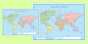 World Map Poster - world, map, poster, display, world map, land
