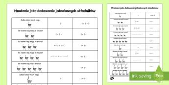 Karta Mnożenie jako dodawanie jednakowych składników - mnożyć, iloczyn, suma, oblicz, matematyka, dodaj, pomnóż, Polish