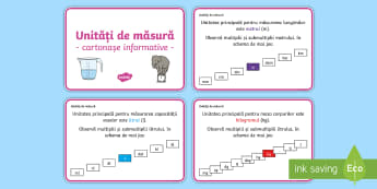 Unități de măsură Cartonașe informative - unități de măsură, metru, litru, volum, submultiplii, multipli, volum, masă, matematică, carto