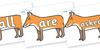 Tricky Words on Foxes - Tricky words, DfES Letters and Sounds, Letters and sounds, display, words
