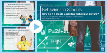 The Behaviour Report: A Summary PowerPoint - KS3/4 Pastoral Support Material, behaviour, Tom Bennett, inset,
