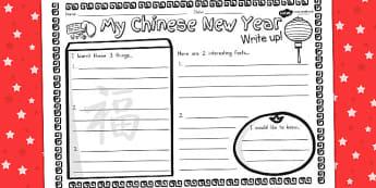 Chinese New Year Write Up Worksheet - australia, new year, write