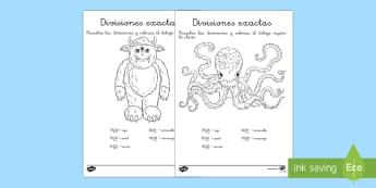 Hojas de colorear por divisiones exactas con dos cifras - monstruos - dividir, división, repartir, cifras, divide, division, sharing, figures, digits, escrito, escrita,