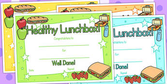 Healthy Lunchbox Certificates - healthy eating, healthy eating certificate, food, award certificate, healthy lunchbox, health, eating, certificate