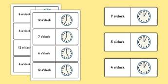 O'clock Time Dominoes - maths, numeracy, clocks, matching, comparing, analogue, KS1, KS2