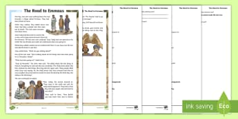 KS2 The Road to Emmaus Differentiated Reading Comprehension Activity - RE, religious education, Jesus, disciples, christianity, bible story,