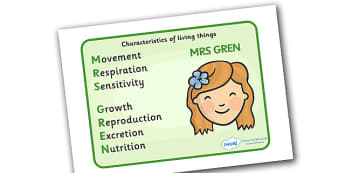 Mrs Gren Life Processes Display Poster - Mrs Green, life, process, life processes, display, poster, banner, sign, characteristics, living things, live, living, movement, respiration, sensitivity, growth, reproduction, excretion, nutrition, prompt, he