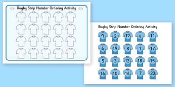 Rugby Strip Number Ordering Activity - rugby strip, number, ordering