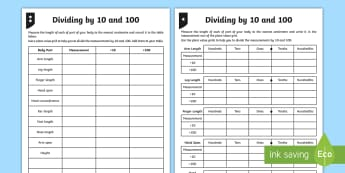 Dividing by 10 and 100 Differentiated Activity Sheets - dividing, dividing by 10, dividing by 100, place value, tenths, hundredths, ones, decimal, measure,