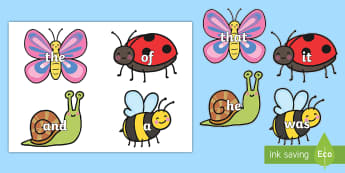 Sight Word Minibeasts Cut Outs - Sight words, games, word games, high frequency words, words, bugs,Australia, minibeasts