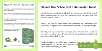 Should Our School Get a Rainwater Tank Exposition Writing Sample - Literacy, Should Our School Get a Rainwater Tank Exposition  Writing Sample, writing sample, writing