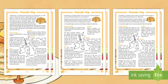 Pancake Day Differentiated Fact File - Pancake Day, pancakes, Shrove Tuesday, Easter, Lent, tradition, religion, celebration, festival, abs