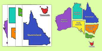 Map of Australia Display Pieces - australia, map of australia, display, pieces, display pieces
