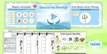 PlanIt - RE Year 3 - Hinduism Lesson 6: Symbols and Meanings Lesson Pack - Aum/Om, padma, trishul, pranama, hindu swastika