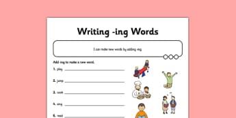 Writing -ing Words Application Activity Sheet - GPS, verb, grammar, spelling, worksheet