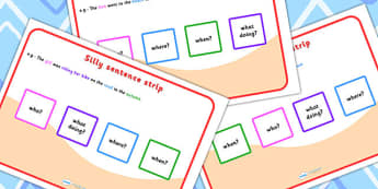 Silly Sentence Strips - silly sentences, visual aid, sentence