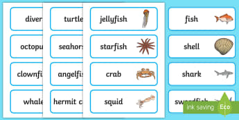 Under the Sea Word Cards - Word Card, Under the sea, sea, seaside, topic, water, tide, fish, sea creatures, shark, whale, marine, dolphin, starfish, waves, sand