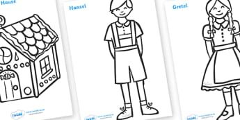 Hansel and Gretel Colouring Sheets - Hansel and Gretel, Brothers Grimm, witch, Hansel, Gretel, gingerbread house, fairytale, traditional tale, woodcutter, forest, story, story sequencing, story resources, Colouring Sheets, colouring, colouring activi