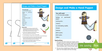 Design and Create a Hand Puppet Craft Instructions - Australia YR 3 and 4 Design Technology, design process, puppets, hand puppets, make a puppet, puppet