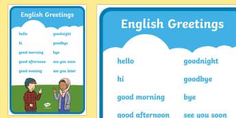 English Greetings A4 Display Poster