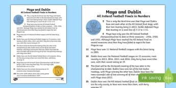 GAA History of Dublin V Mayo Fact File-Irish