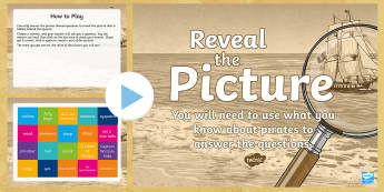 Pirates Reveal the Picture Activity - ICT, interactive, computer, PPT, quiz, questions, past, answering questions, end of topic,Scottish