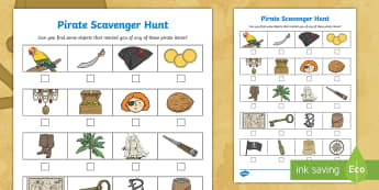 Pirate  Scavenger Hunt - hunt, scavenger, natural materials, outdoors, forest school, pirates
