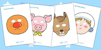 Role Play Masks to Support Teaching on Mr Wolf's Pancakes - mr Wolf's pancakes, role play