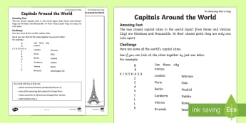 Capitals Around the World Activity Sheet - Amazing Fact Of The Day march, activity sheets, powerpoint, starter, morning activity, March, capita