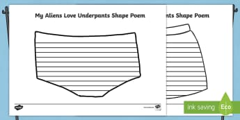 Pants Shape Poetry Writing Frame to Support Teaching on Aliens Love Underpants - aliens love underpants, shape poetry, poetry, poems, writing frame, poem template, shape poems