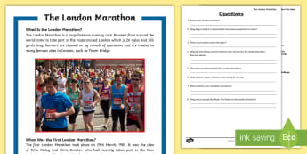 KS2 The London Marathon Differentiated Reading Comprehension Activity - KS2, comprehension, reading, reading comprehension, reading activity, London, marathon, running, eve