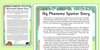 Ng Phoneme Spotter Story - EYFS, Early Years, KS1, Key Stage 1, phonics, Letters and Sounds, dfe, phonemes, alternative spellings, year 1, phase, 5, five