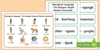 Noongar Aboriginal Language Word Mat and Word Card Resource Pack - Australian Curriculum, Aboriginal and Torres Strait Islander Peoples, justice, marriage, birth, resi
