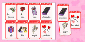 Valentine's Day Flashcards - valentines day, visual aids, keywords